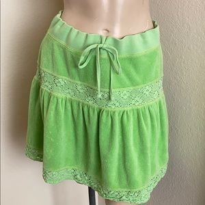 Juicy Couture Green Terry Cloth Skirt Size S